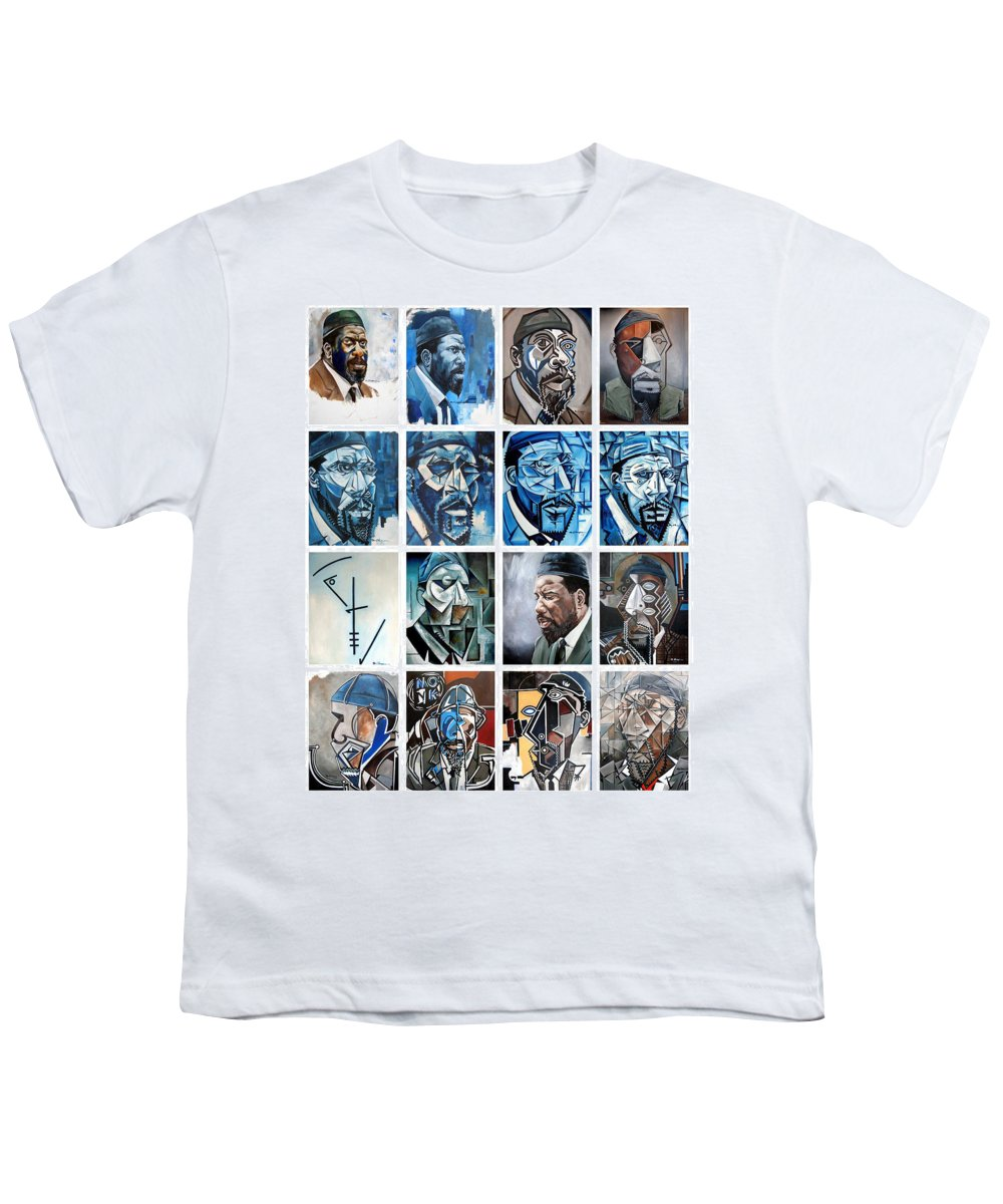 Jazz Piano Thelonious Monk Portrait Cubism Abstract Youth T-Shirt featuring the painting Improvised Metamorphoses by Martel Chapman