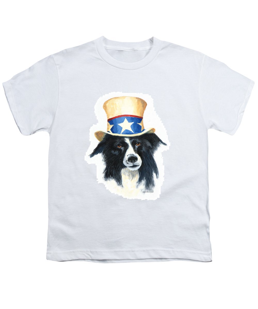 Dog Youth T-Shirt featuring the painting In Dog We Trust by Jerry McElroy
