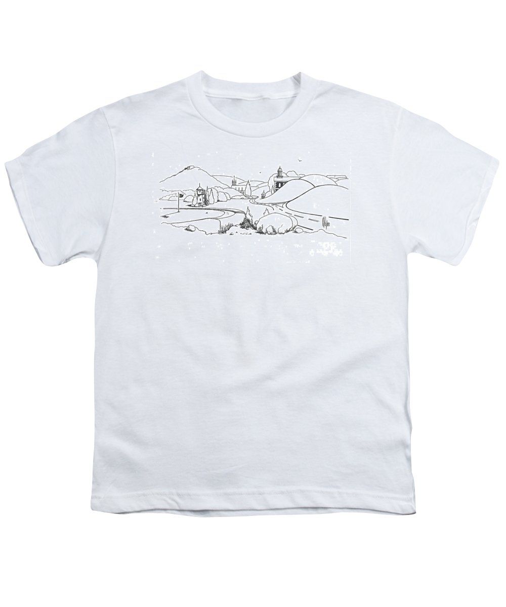 In The Land Of Brigadoon Youth T-Shirt featuring the drawing In The Land Of Brigadoon by Kip DeVore