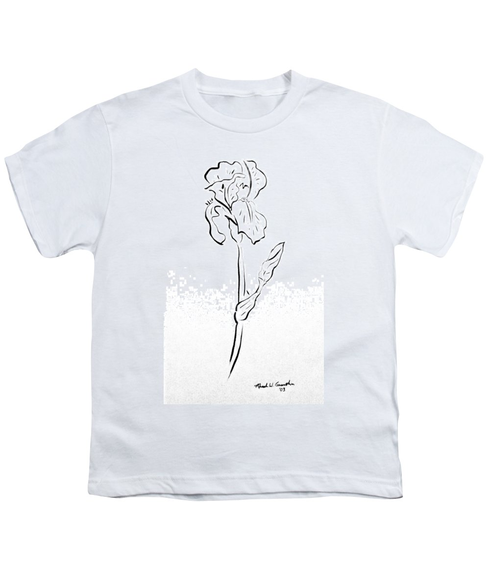 Abstract Youth T-Shirt featuring the drawing Iris II by Micah Guenther