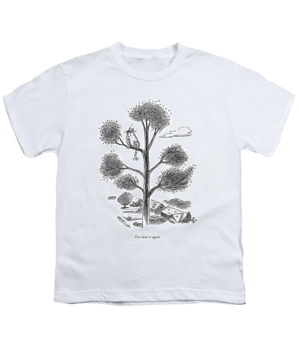 Cats Youth T-Shirt featuring the drawing I've Done It Again by Frank Cotham