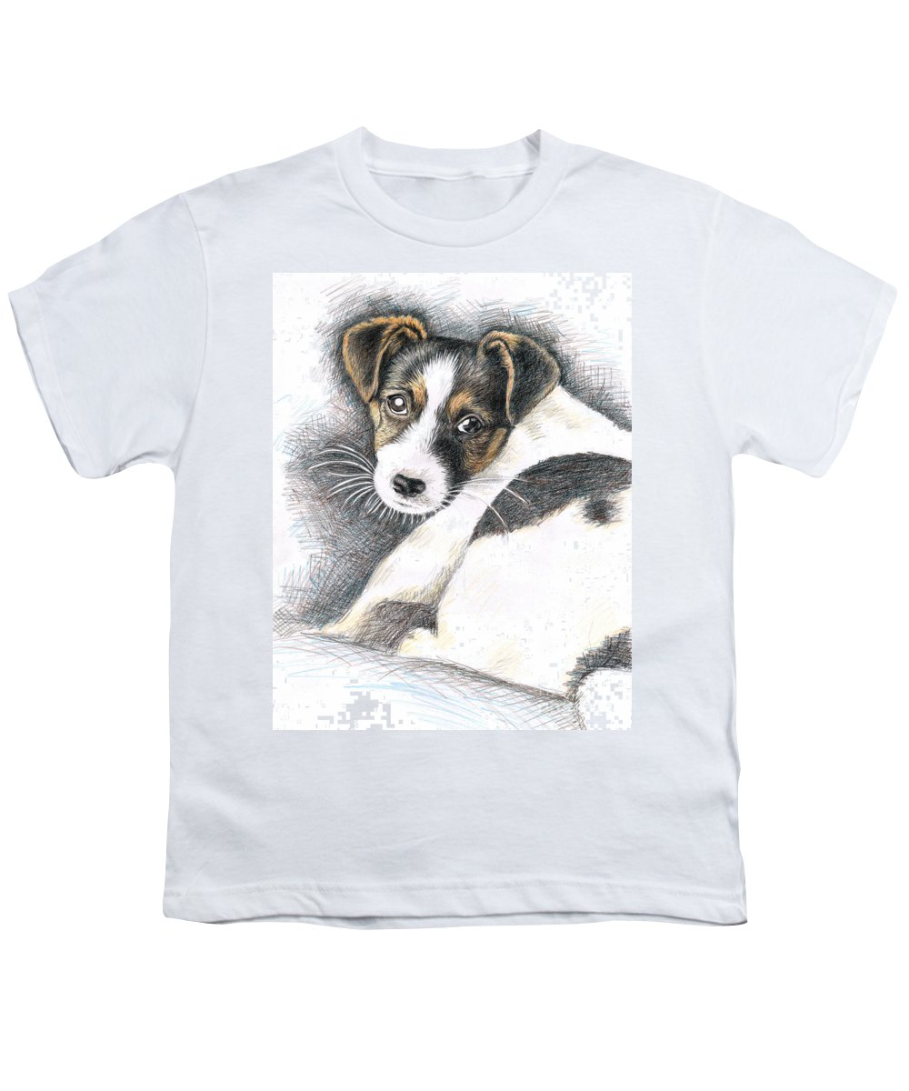 Dog Youth T-Shirt featuring the drawing Jack Russell Puppy by Nicole Zeug