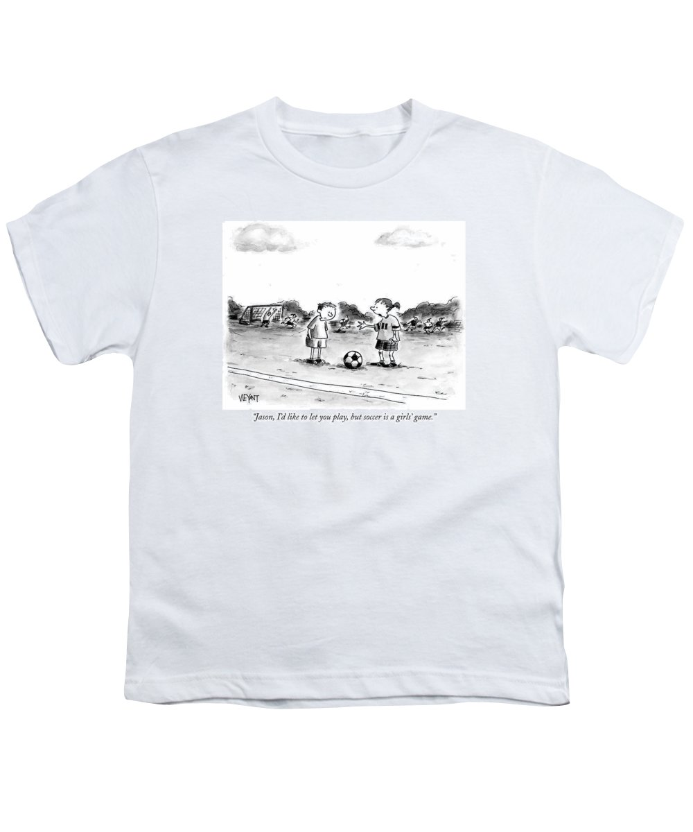 Soccer Youth T-Shirt featuring the drawing Jason, I'd Like To Let You Play, But Soccer by Christopher Weyant