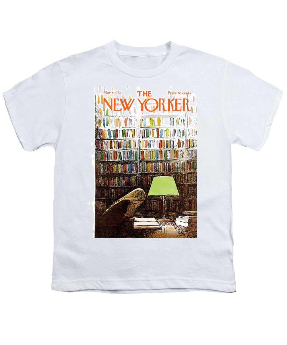 Library Youth T-Shirt featuring the painting New Yorker March 3, 1973 by Arthur Getz