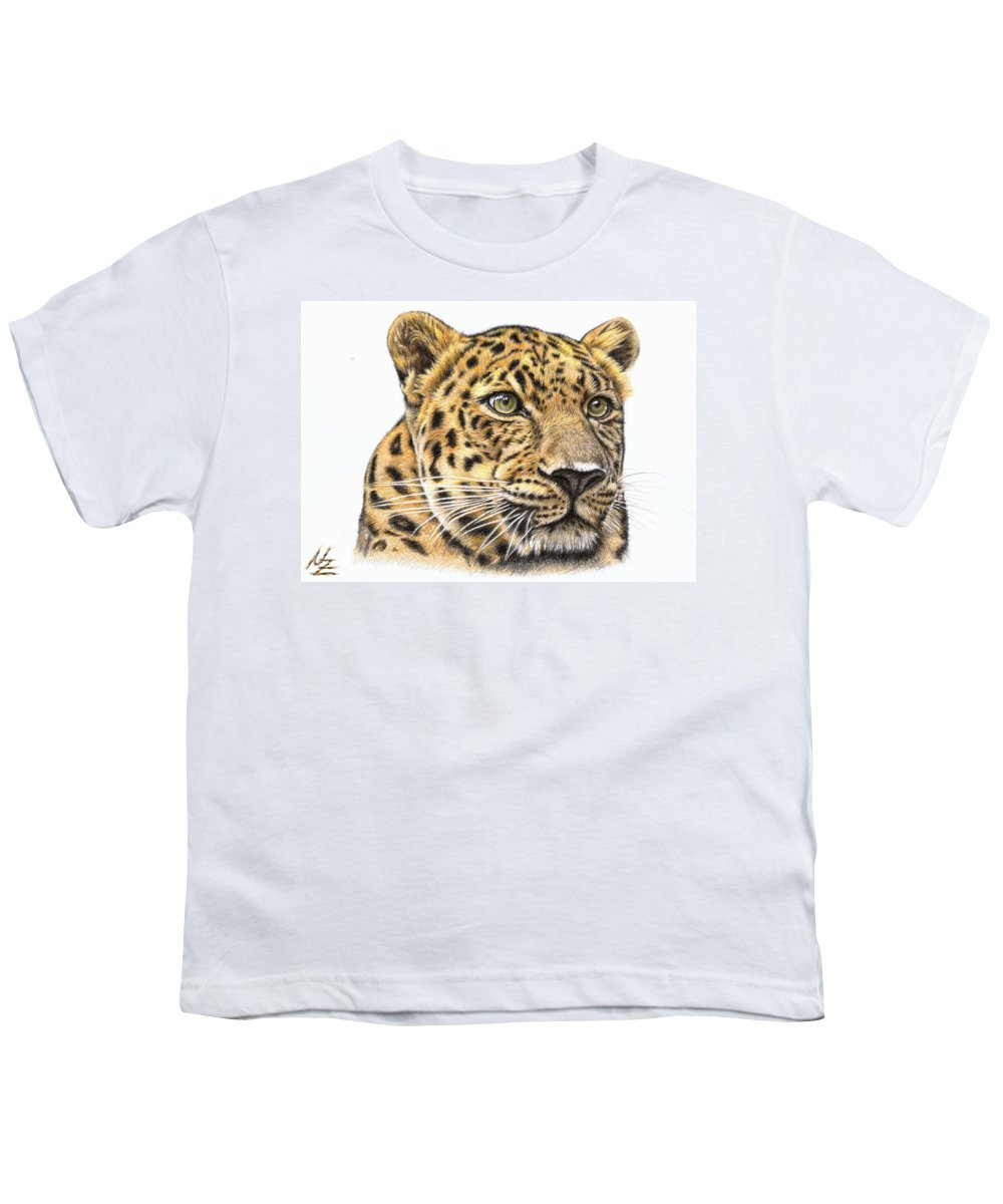 Leopard Youth T-Shirt featuring the drawing Leopard by Nicole Zeug