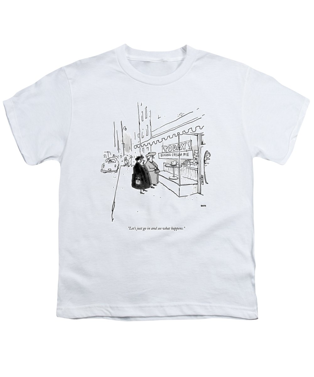 10/20 Youth T-Shirt featuring the drawing Let's Just Go In And See What Happens by George Booth