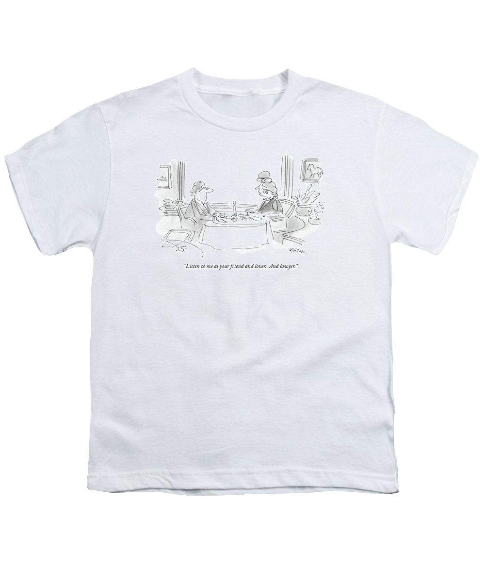 Relationships Youth T-Shirt featuring the drawing Listen To Me As Your Friend And Lover by Dean Vietor