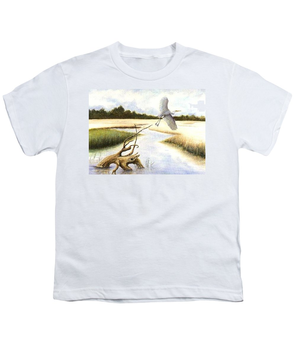 Egret Youth T-Shirt featuring the painting Low Country Marsh by Ben Kiger