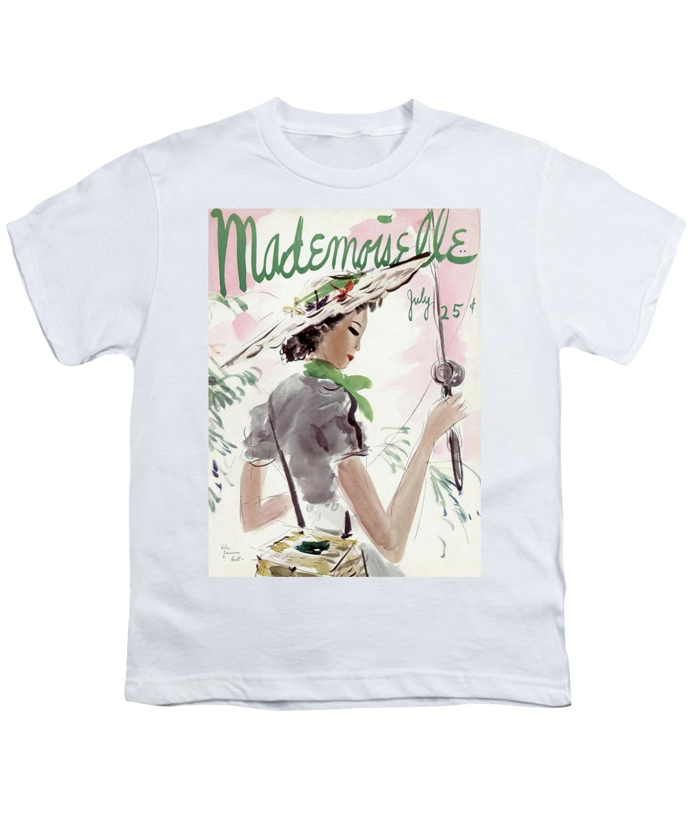 Illustration Youth T-Shirt featuring the photograph Mademoiselle Cover Featuring A Woman Holding by Helen Jameson Hall