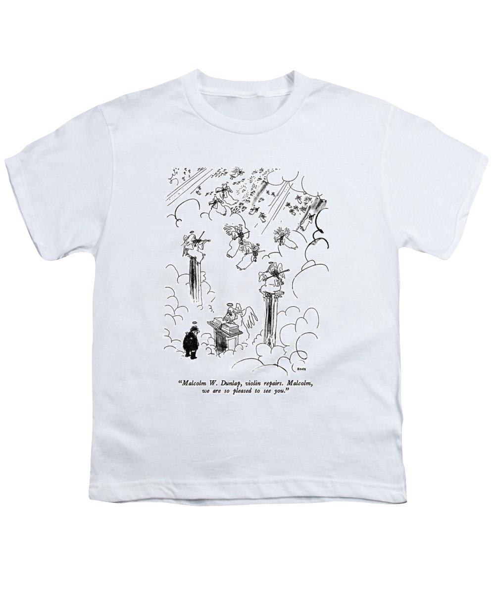 St. Peter To Man Entering Heaven Youth T-Shirt featuring the drawing Malcolm W. Dunlap by George Booth