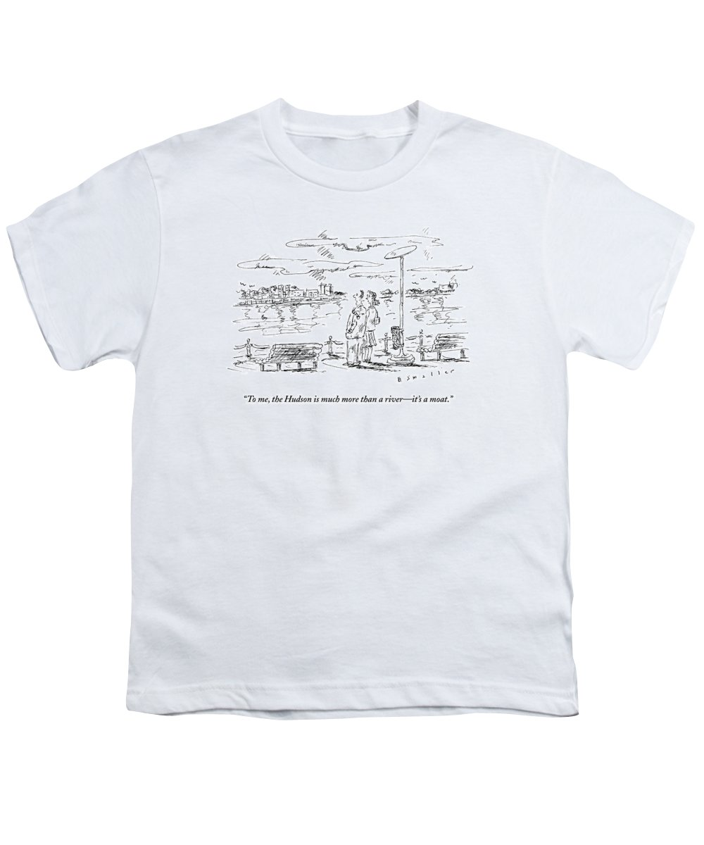 Hudson Youth T-Shirt featuring the drawing Man Speaks To Woman As They Look by Barbara Smaller