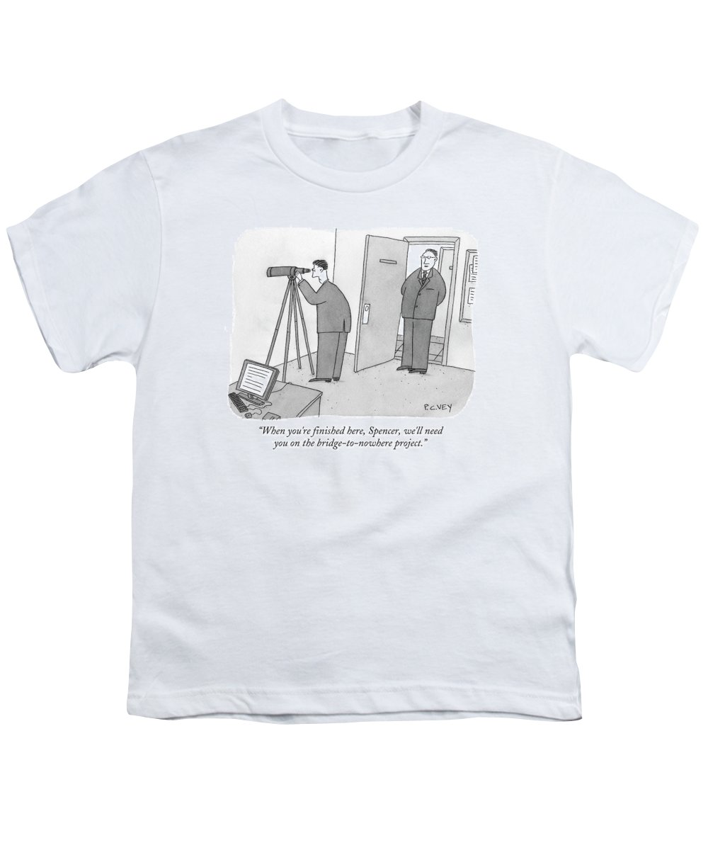 Spy Youth T-Shirt featuring the drawing Man Stares At Wall With Telescope by Peter C. Vey