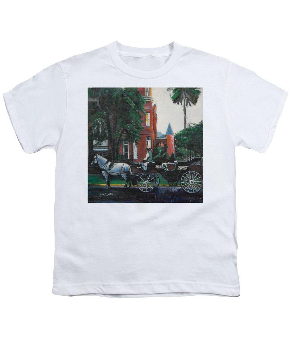 Youth T-Shirt featuring the painting Mansion On Forsythe Savannah Georgia by Jude Darrien