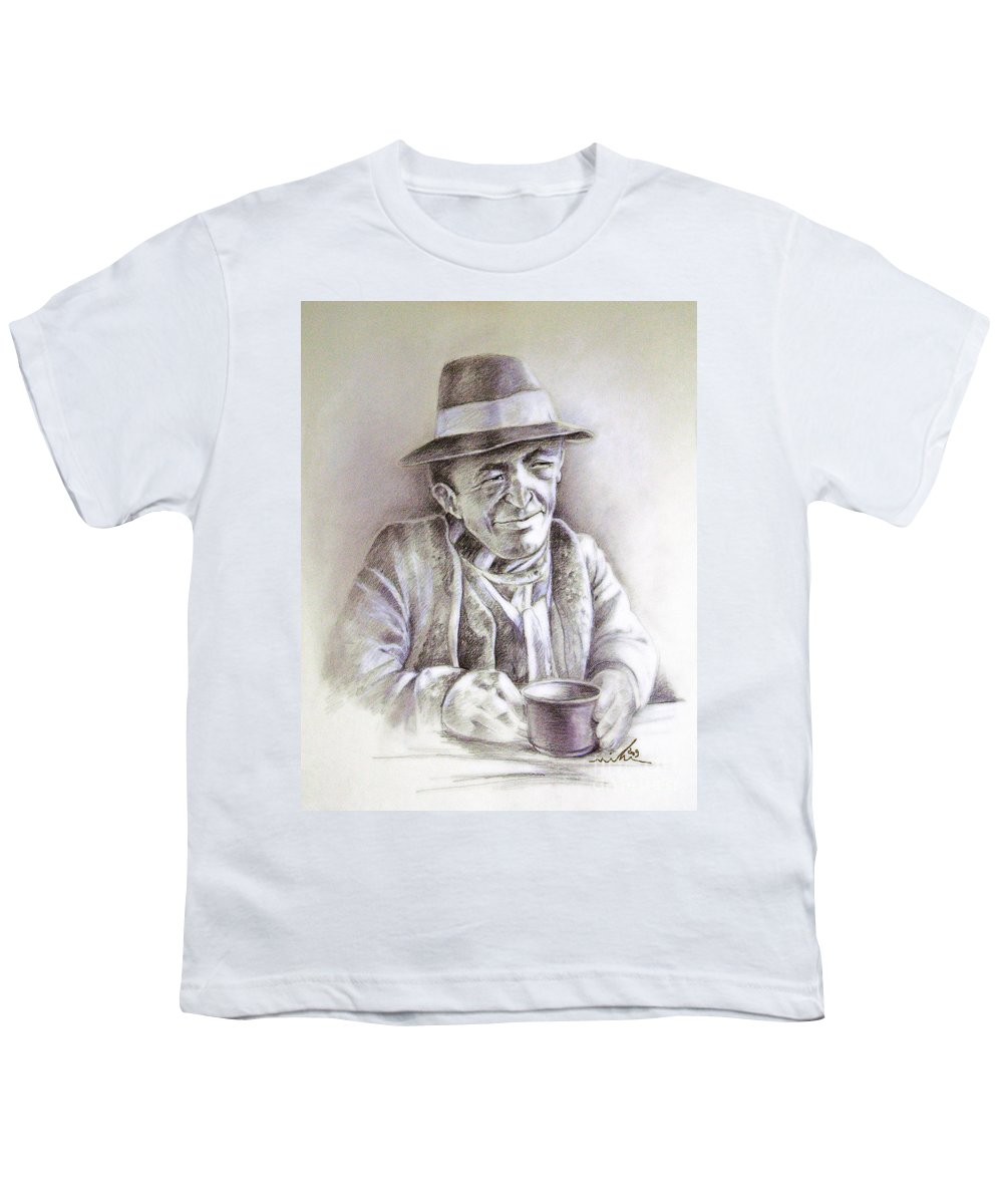 Portrait Michael Anderson Youth T-Shirt featuring the painting Michael J Anderson by Miki De Goodaboom