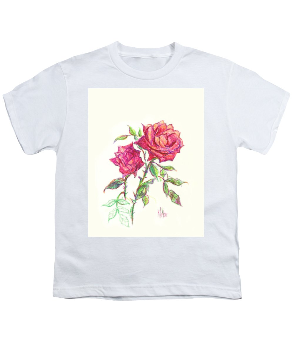 Nature Youth T-Shirt featuring the painting Minature Red Rose by Kip DeVore
