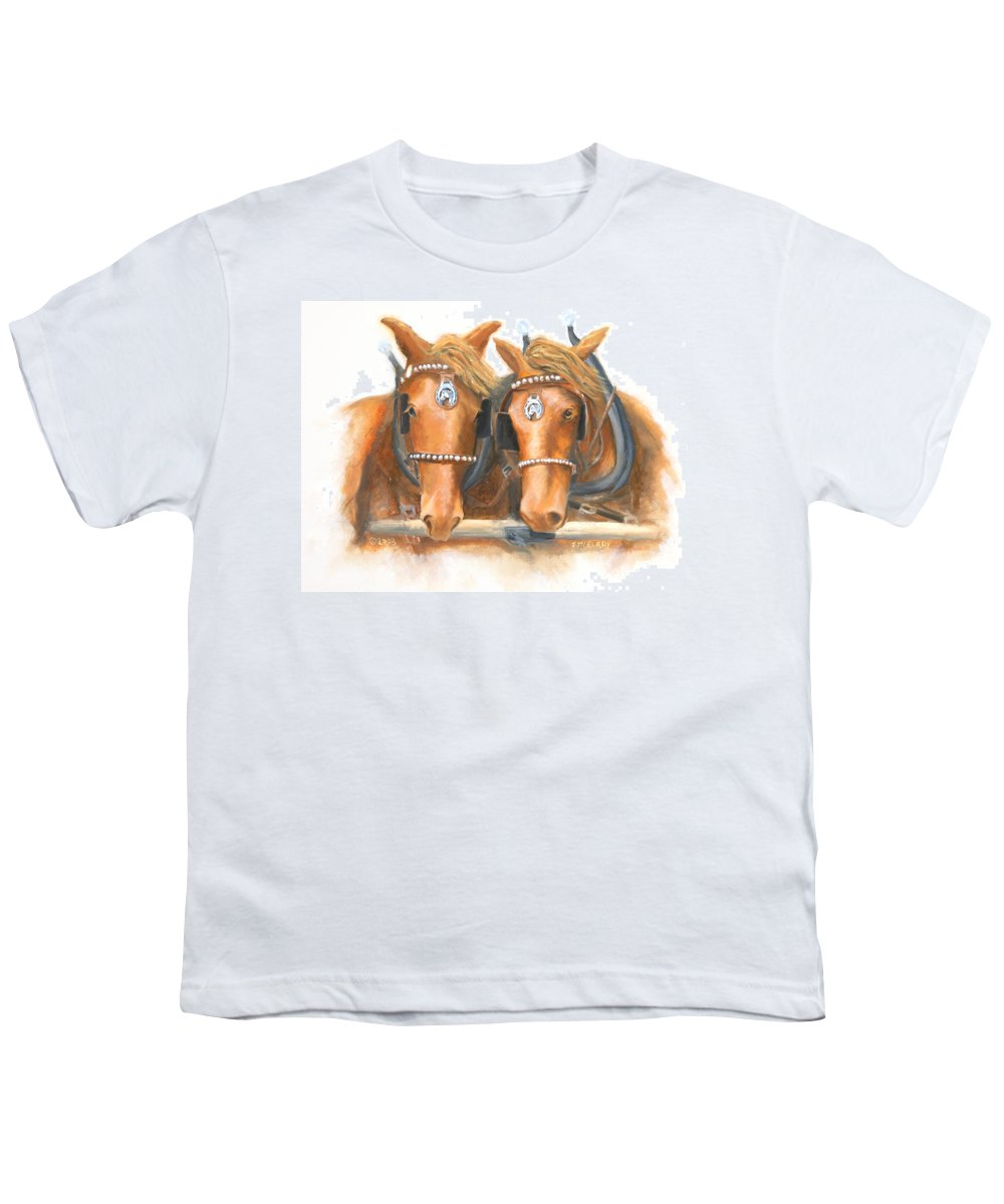 Horse Youth T-Shirt featuring the painting Mini And Jake by Jerry McElroy
