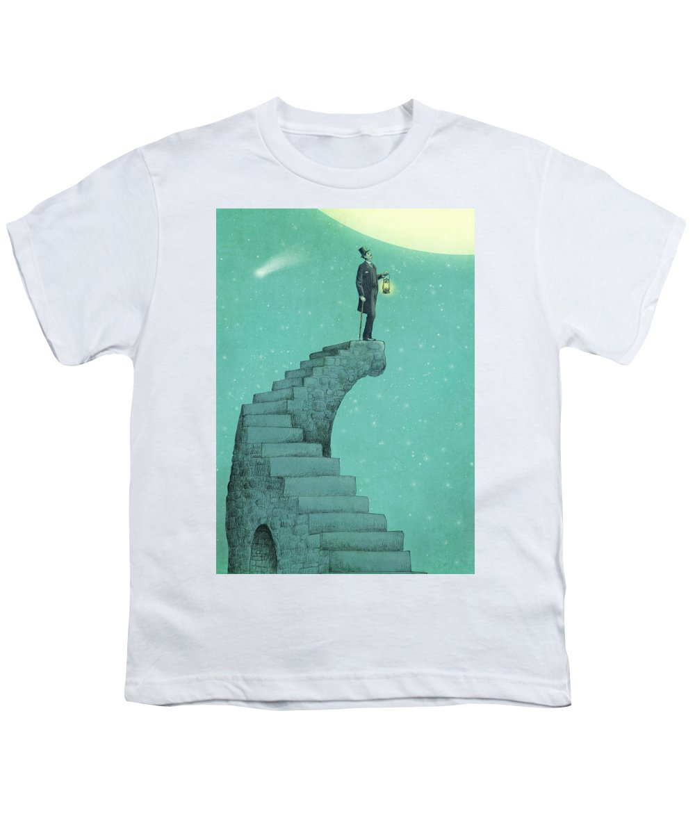 Moon Youth T-Shirt featuring the drawing Moon Steps by Eric Fan