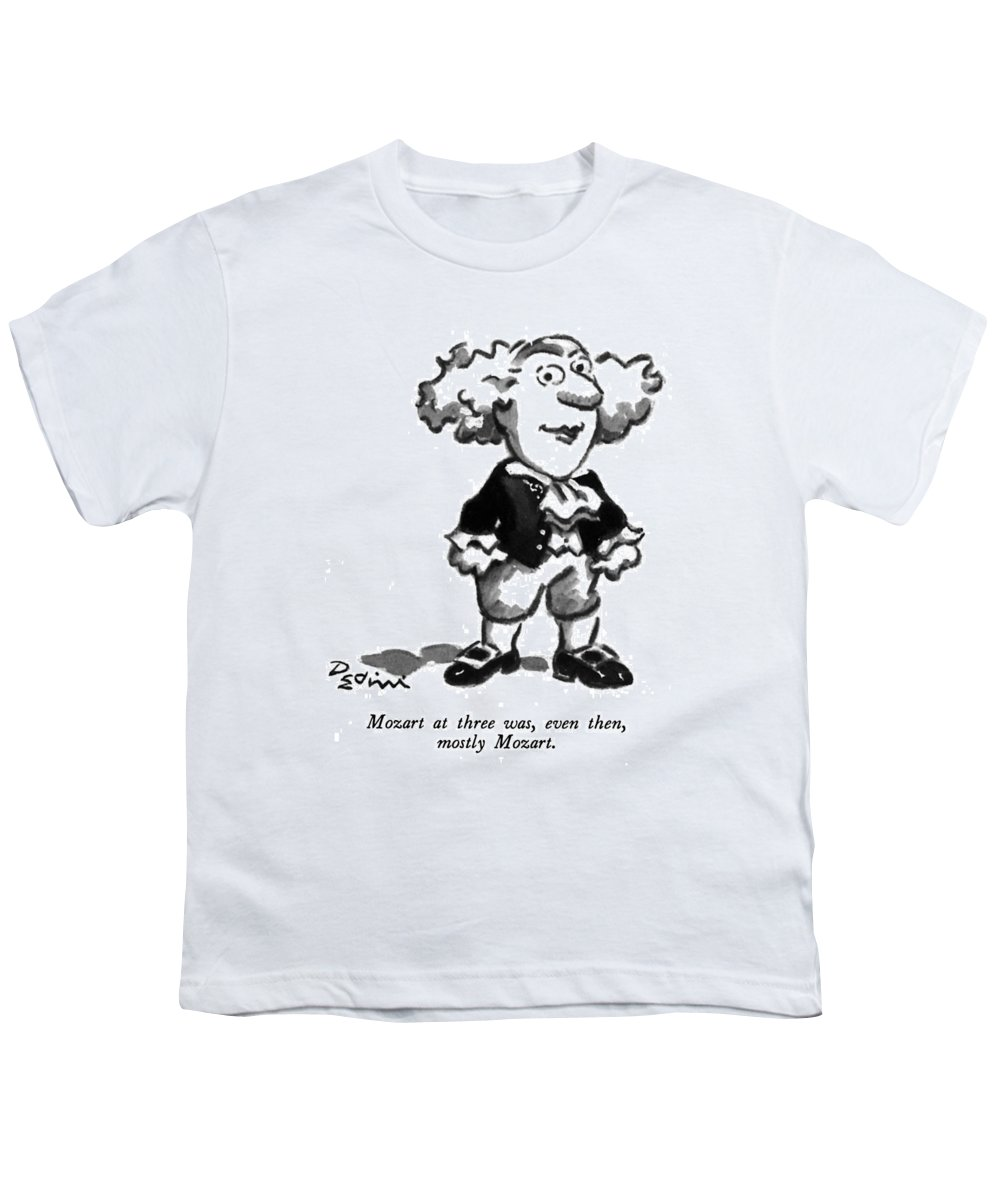 Play On Words Youth T-Shirt featuring the drawing Mozart At Three by Eldon Dedini