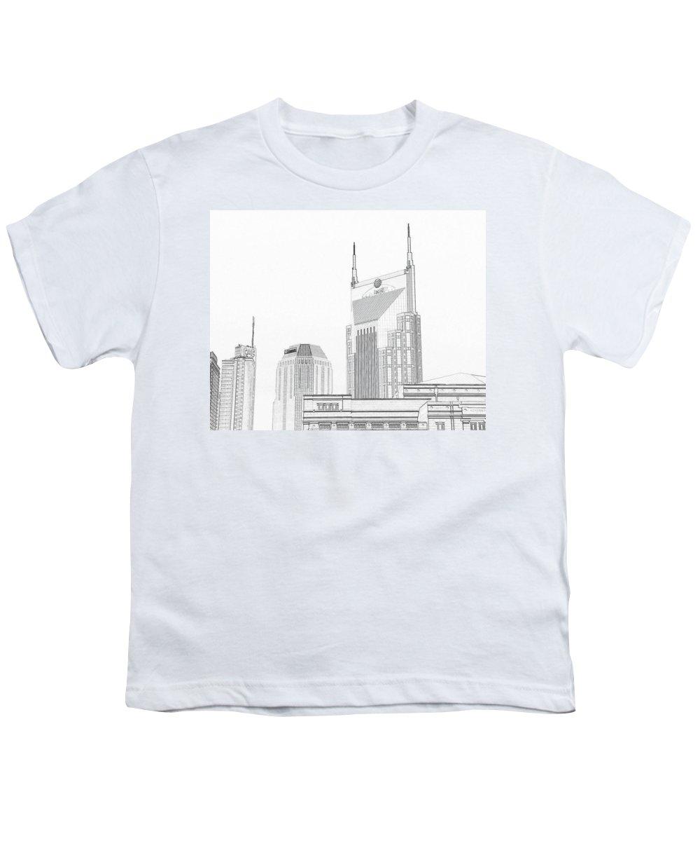 001cd24bfbf05 Nashville Skyline Sketch Batman Building Youth T-Shirt