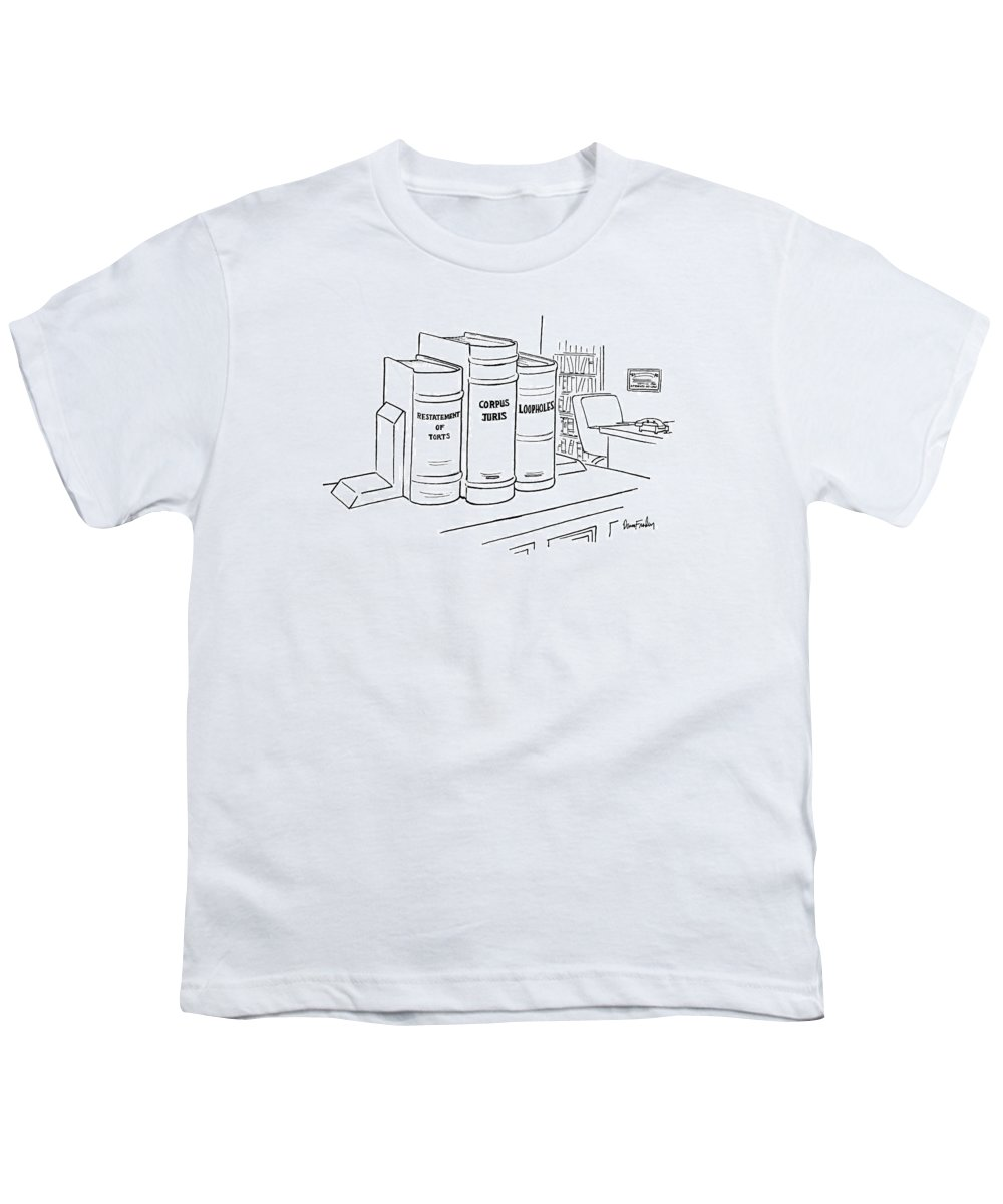 Book Youth T-Shirt featuring the drawing New Yorker December 16th, 1974 by Dana Fradon