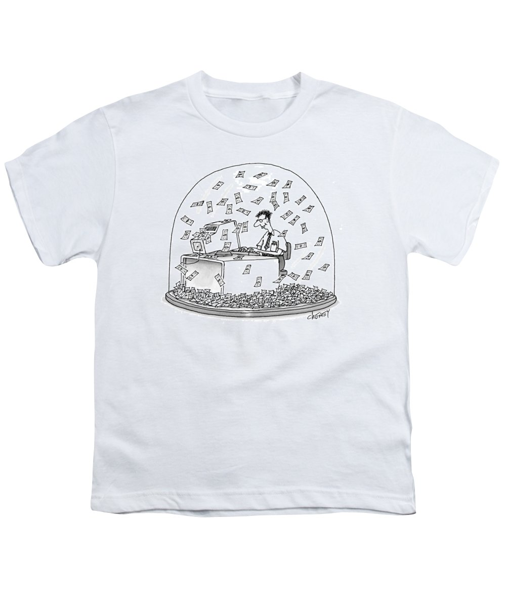 Snow Globes Youth T-Shirt featuring the drawing New Yorker December 6th, 1999 by Tom Cheney