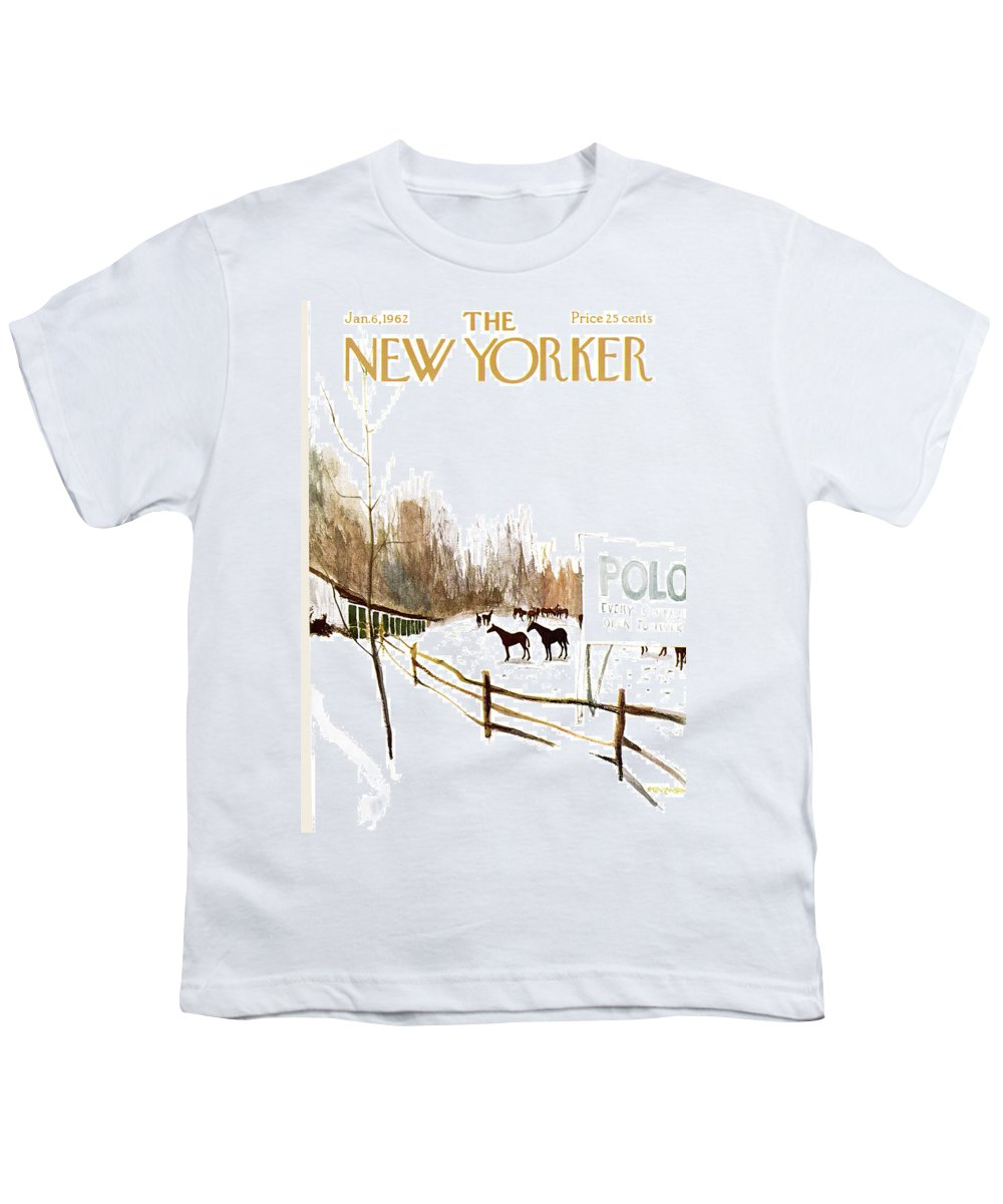 Suburb Youth T-Shirt featuring the painting New Yorker January 6th, 1962 by James Stevenson