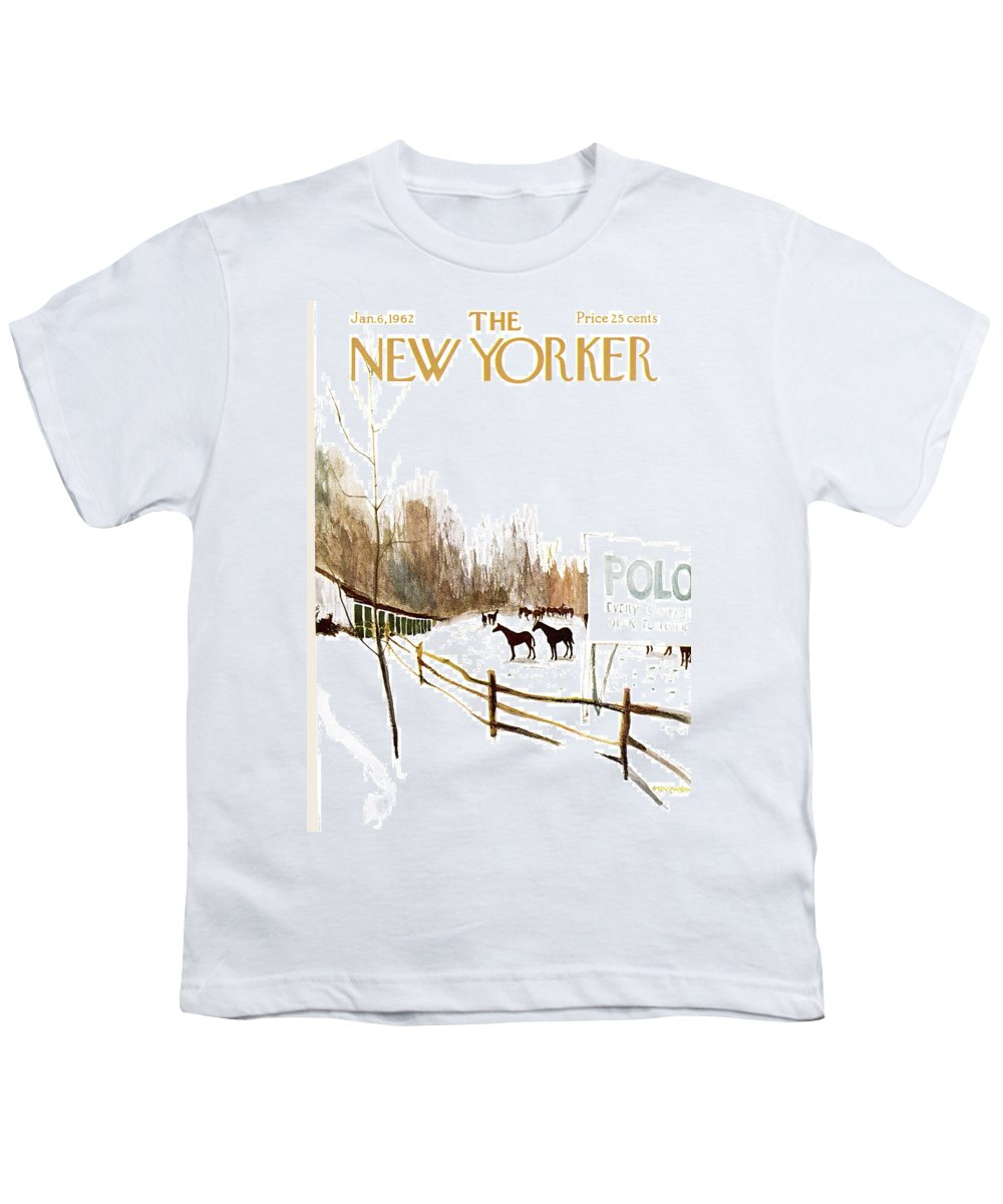 Suburb Country Outdoors Community Town Small Suburban Quaint Village Sport Sports Horse Horses Polo Snow Winter Snowing Jst James Stevenson Sumnerok James Stevenson Jst Artkey 49692 Youth T-Shirt featuring the painting New Yorker January 6th, 1962 by James Stevenson