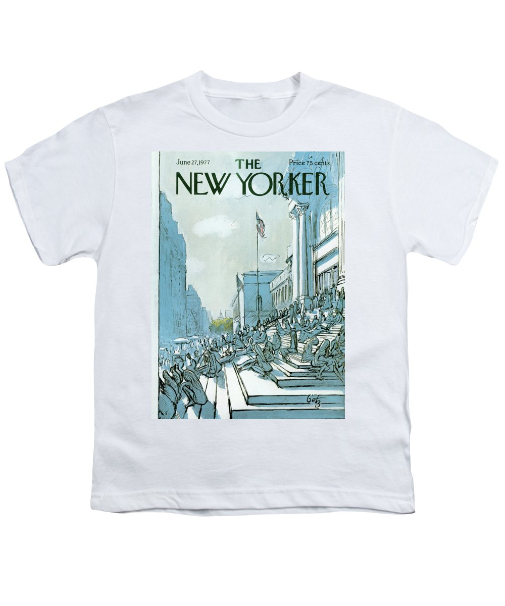 Summer Youth T-Shirt featuring the painting New Yorker June 27th, 1977 by Arthur Getz