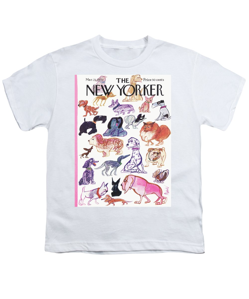 Animals Youth T-Shirt featuring the painting New Yorker March 21st, 1970 by Kenneth Mahood