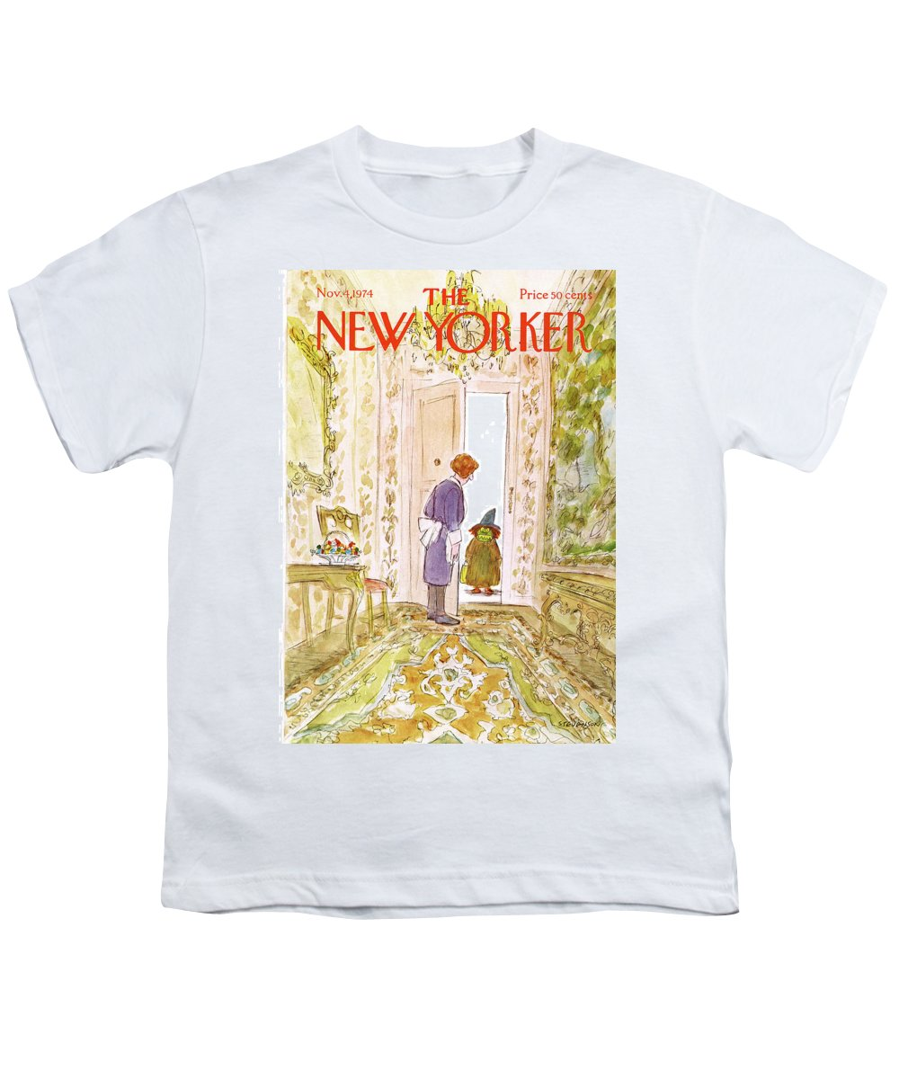 Halloween Youth T-Shirt featuring the painting New Yorker November 4th, 1974 by James Stevenson