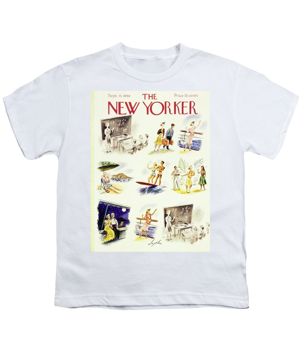 Travel Youth T-Shirt featuring the painting New Yorker September 14 1940 by Constantin Alajalov