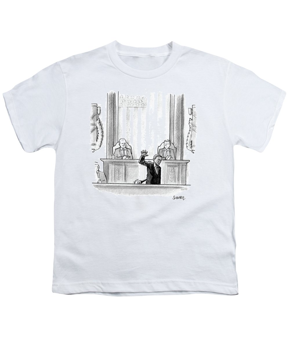 Cartoon Youth T-Shirt featuring the drawing Obama Dropping A Mic by Benjamin Schwartz
