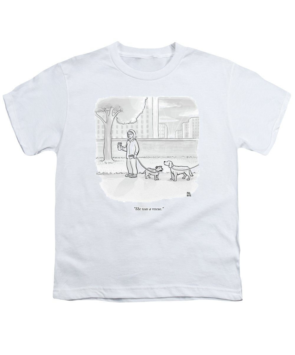 Dogs Youth T-Shirt featuring the drawing One Dog Talks To Another by Paul Noth