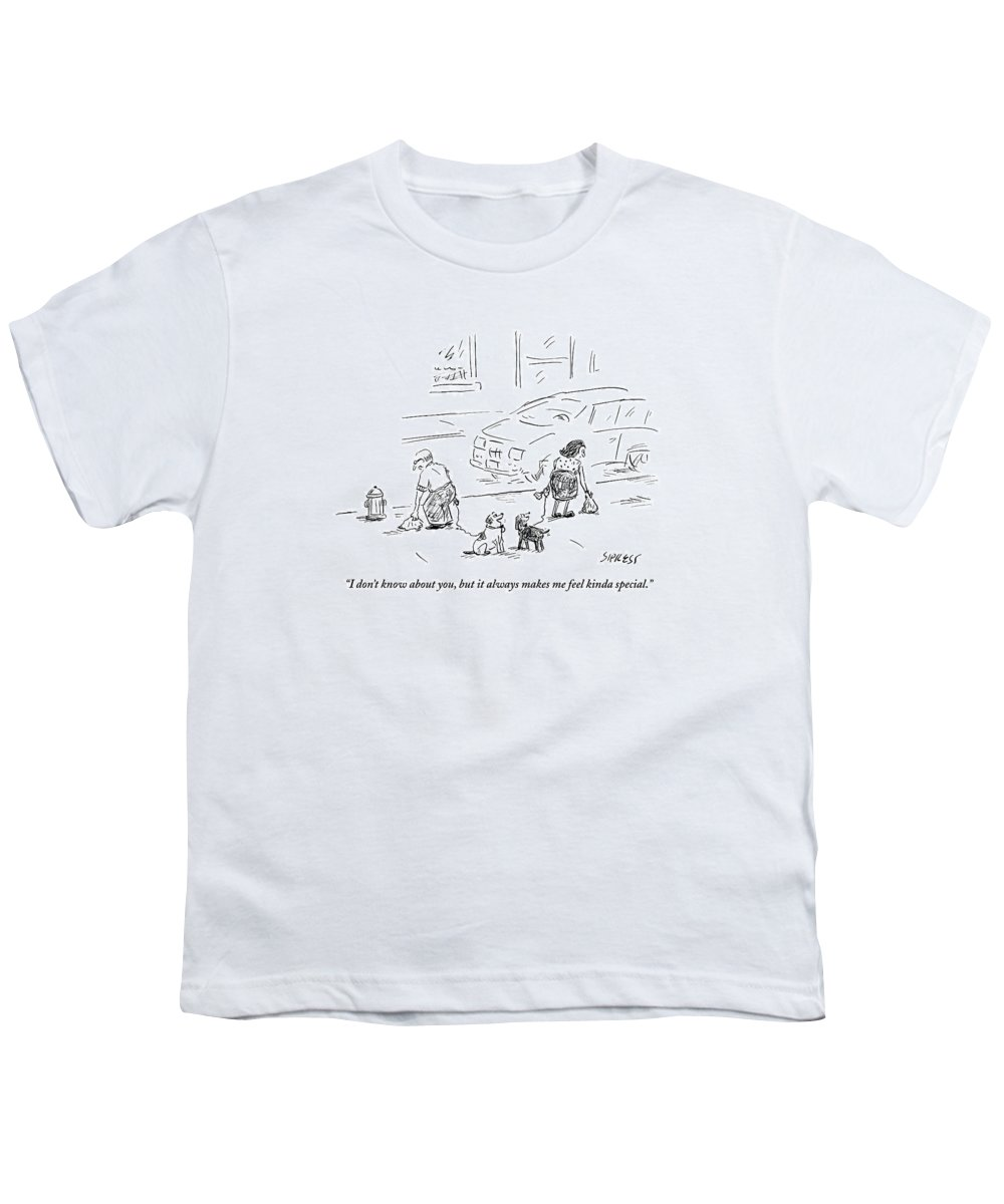 Dogs Youth T-Shirt featuring the drawing One Dog To Another As Owners Use Plastic Bags by David Sipress