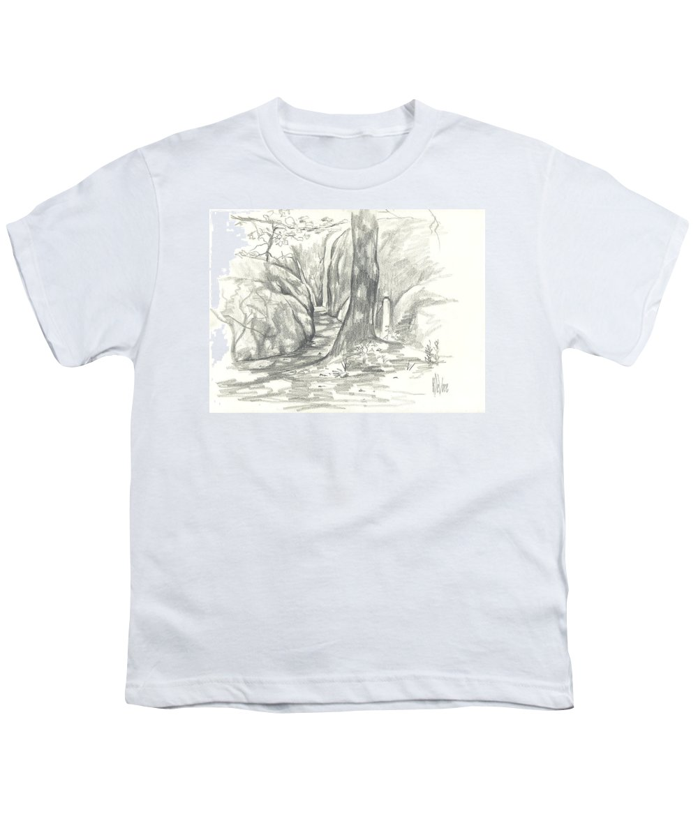 Passageway At Elephant Rocks Youth T-Shirt featuring the drawing Passageway At Elephant Rocks by Kip DeVore