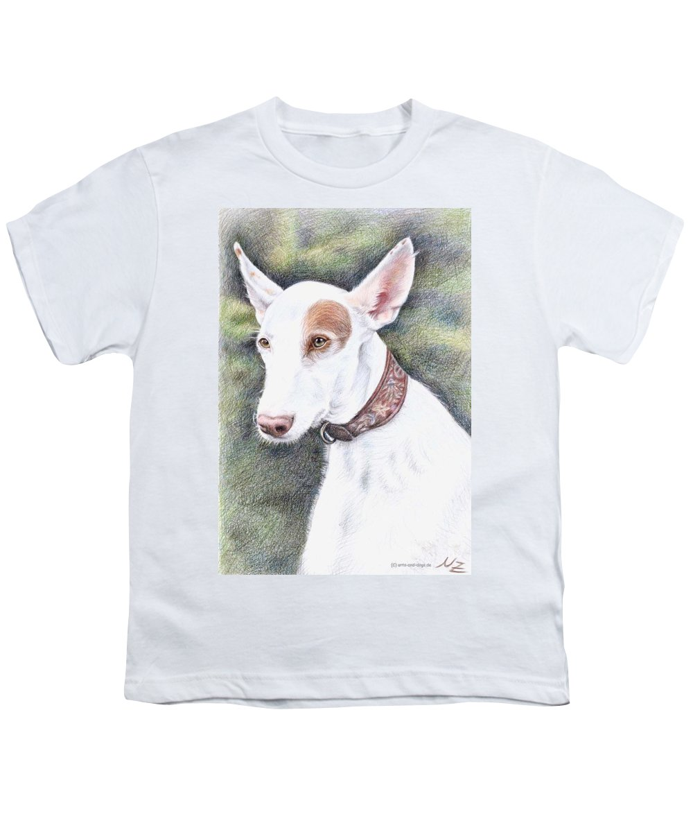 Dog Youth T-Shirt featuring the drawing Podenco Ibicenco by Nicole Zeug