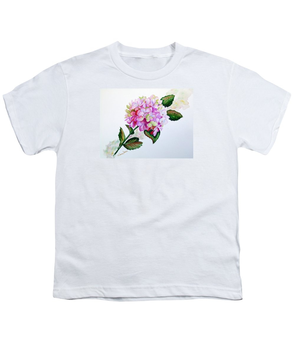 Hydrangea Painting Floral Painting Flower Pink Hydrangea Painting Botanical Painting Flower Painting Botanical Painting Greeting Card Painting Painting Youth T-Shirt featuring the painting Pretty In Pink by Karin Dawn Kelshall- Best
