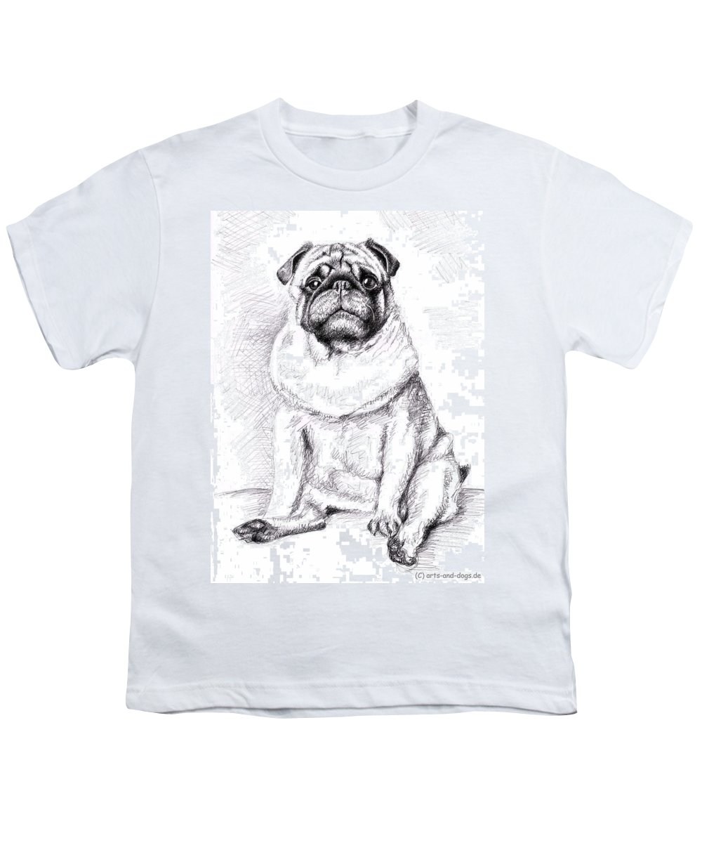Dog Youth T-Shirt featuring the drawing Pug Anton by Nicole Zeug