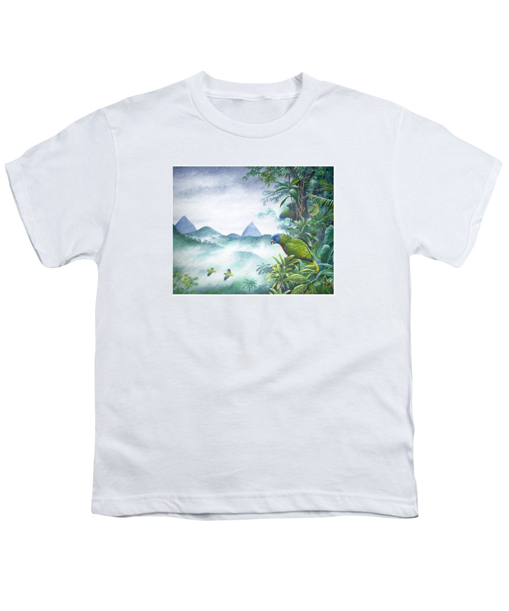 Chris Cox Youth T-Shirt featuring the painting Rainforest Realm - St. Lucia Parrots by Christopher Cox