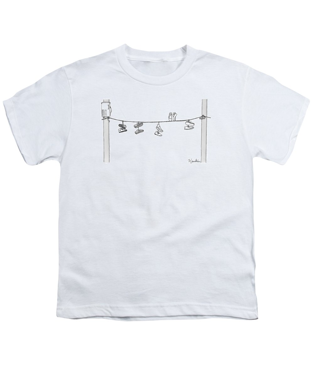 Captionless Youth T-Shirt featuring the drawing Several Pairs Of Shoes Dangle Over An Electrical by Charlie Hankin