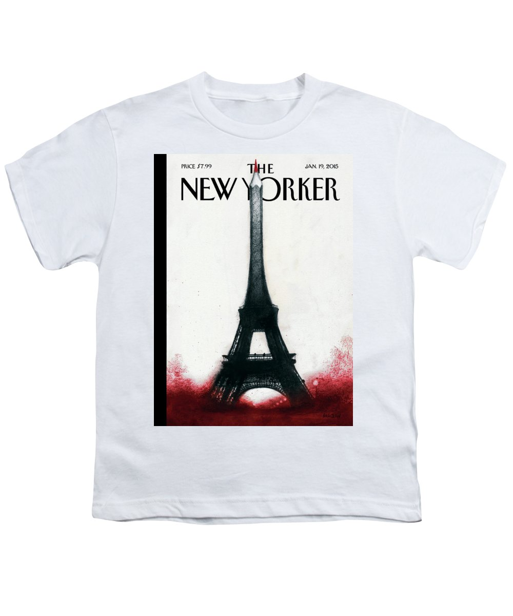 Charlie Hebdo Youth T-Shirt featuring the painting Solidarite by Ana Juan