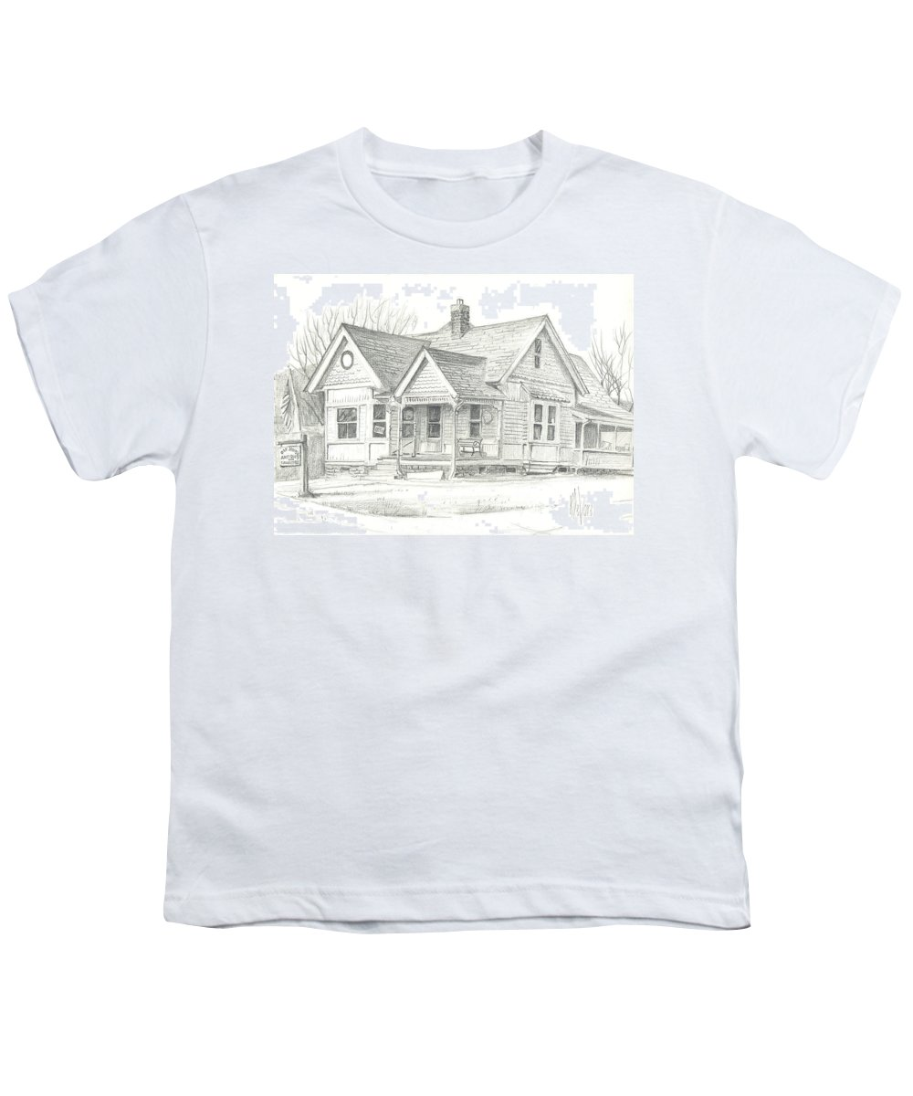 The Antique Shop Youth T-Shirt featuring the drawing The Antique Shop by Kip DeVore