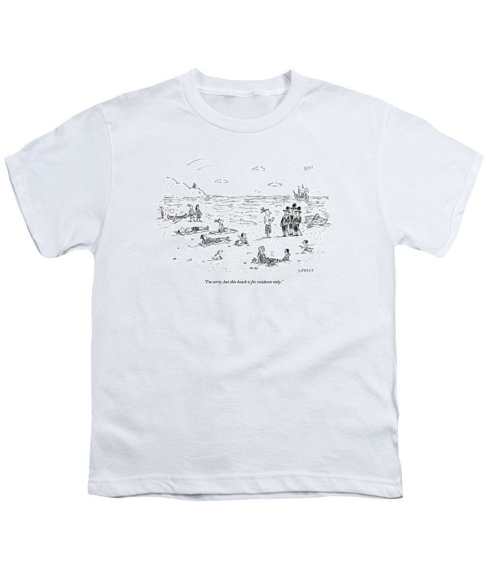 Pilgrims Youth T-Shirt featuring the drawing The Pilgrims Arrive At A Native American Beach by David Sipress