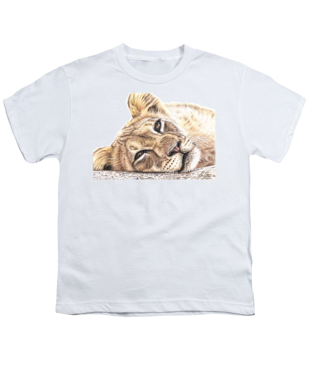 Lion Youth T-Shirt featuring the drawing Tired Young Lion by Nicole Zeug