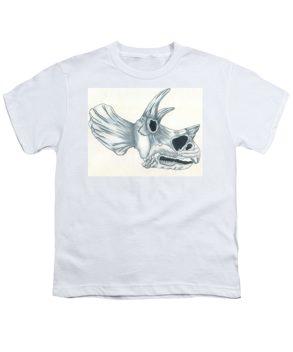 Dinosaur Youth T-Shirt featuring the drawing Tricerotops Skull by Micah Guenther