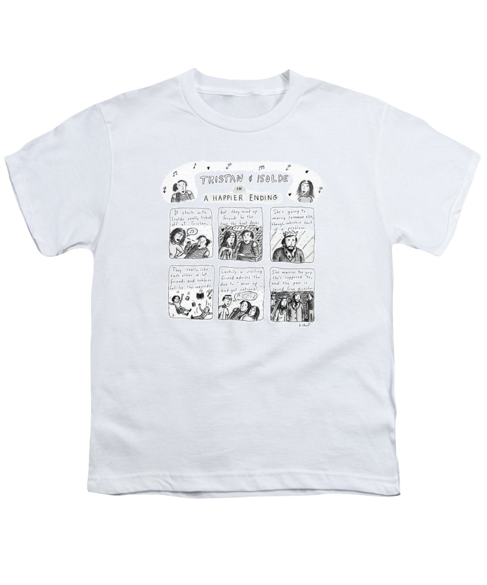 Music Youth T-Shirt featuring the drawing Tristan & Isolde In A Happier Ending by Roz Chast
