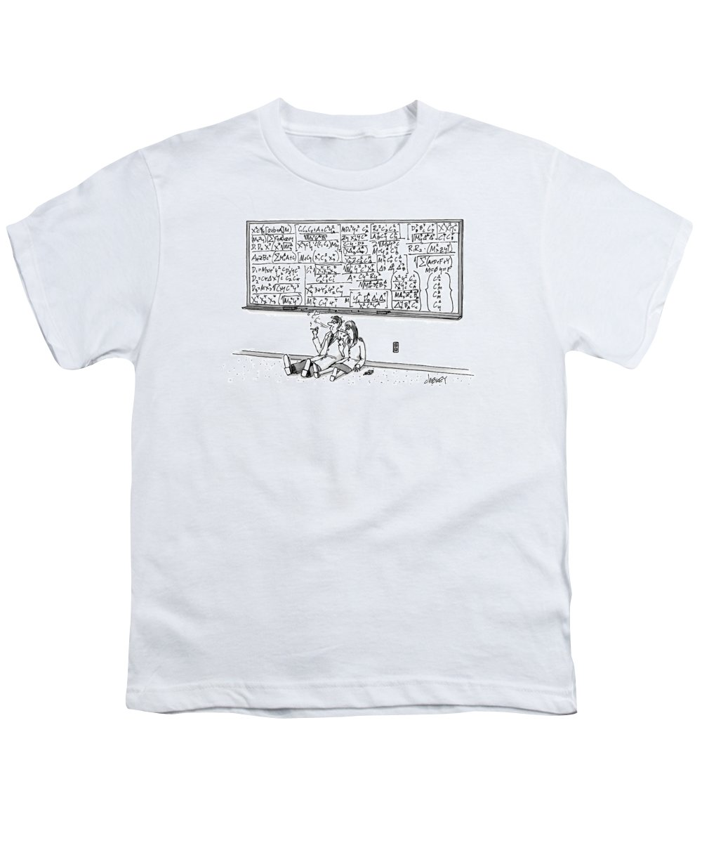 Math Youth T-Shirt featuring the drawing Two Mathematicians Sitting Beneath A Giant by Tom Cheney