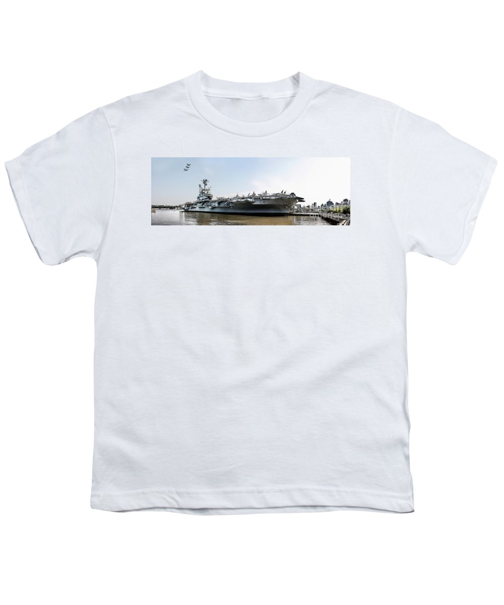 Uss Intrepid Youth T-Shirt featuring the photograph Uss Intrepid Sea-air-space Museum In New York City. by Nishanth Gopinathan