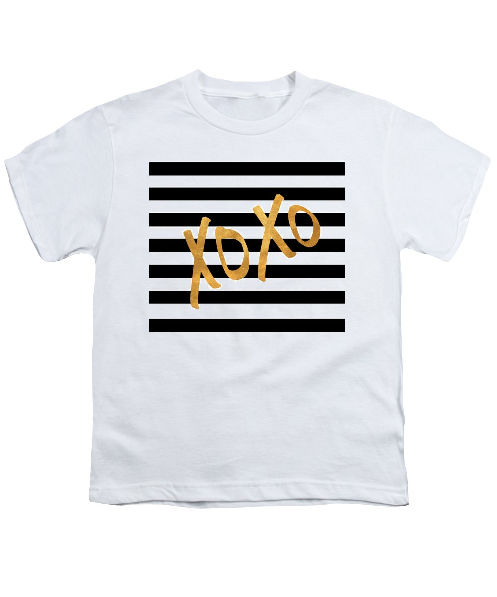 Valentines Youth T-Shirt featuring the digital art Valentines Stripes IIi by South Social Studio