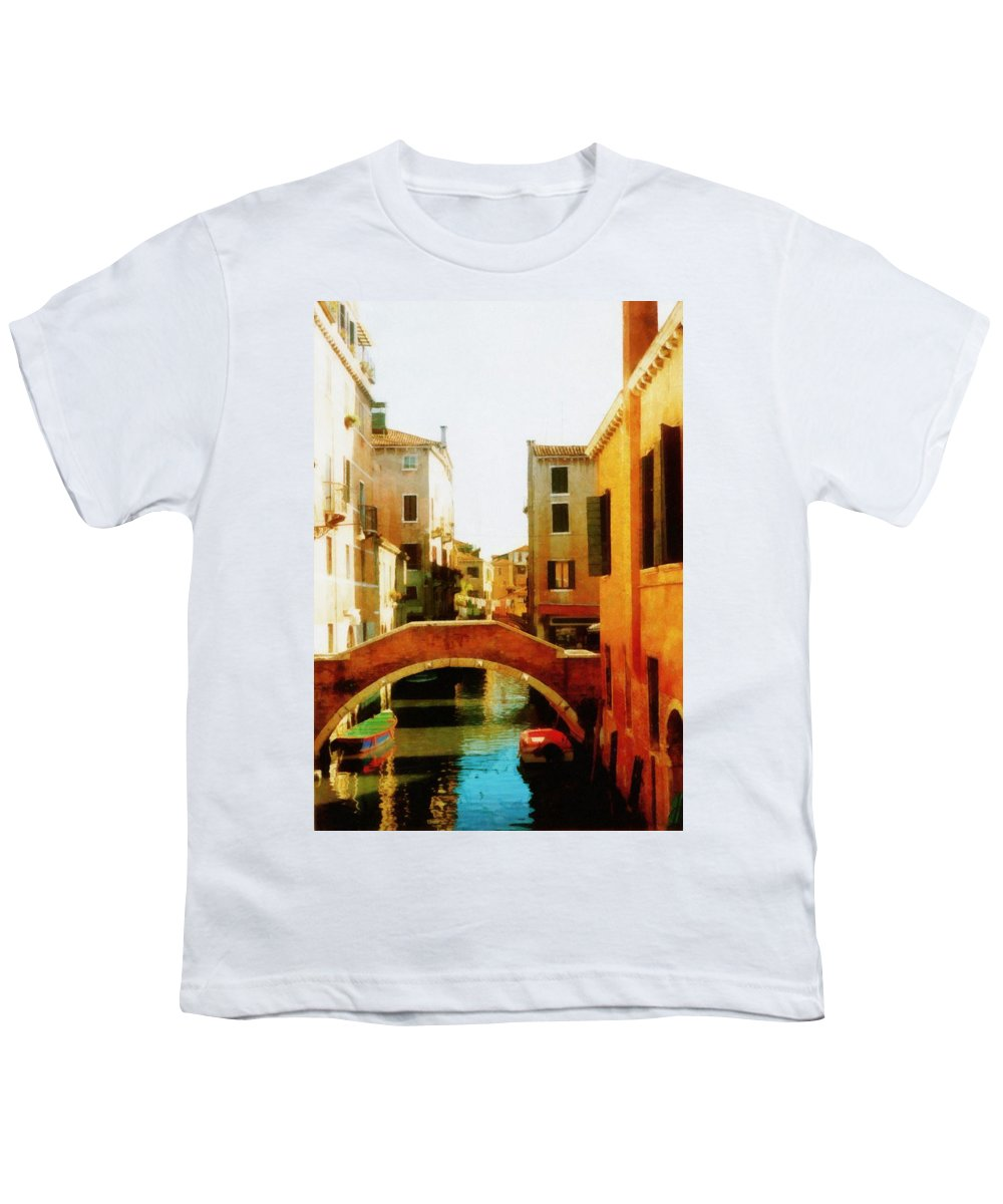 Venice Youth T-Shirt featuring the photograph Venice Italy Canal With Boats And Laundry by Michelle Calkins
